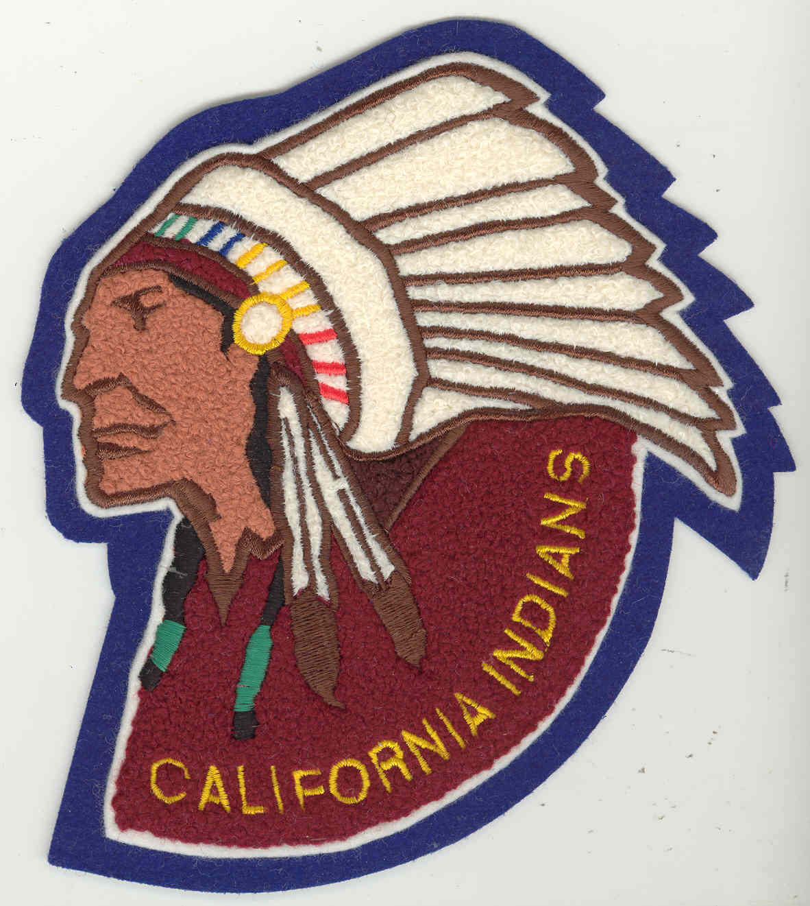 Custom patches, Chenille Letters and Emblems, CALIFORNIA INDIANS chenille embroidery